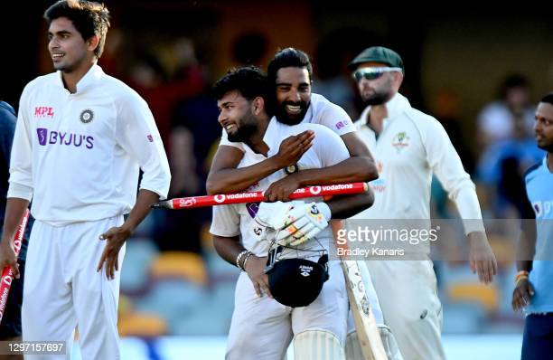 Rishabh Pant of India celebrates victory after day five of the 4th Test Match in the series between Australia and India at The Gabba on January 19,...
