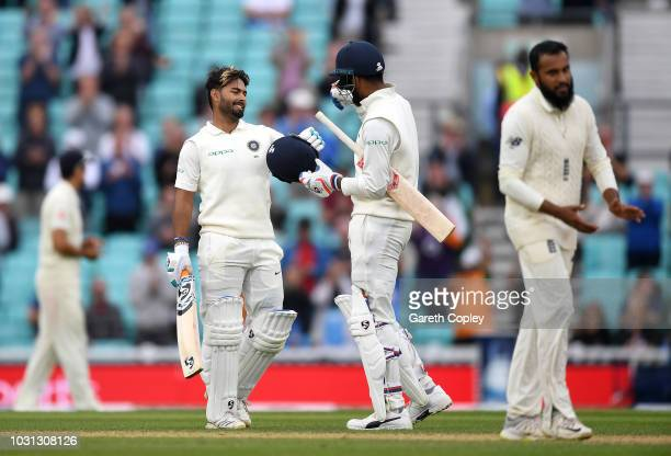 Rishabh Pant of India celebrates with Lokesh Rahul after reaching his century during day five of the Specsavers 5th Test match between England and...
