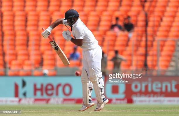 Rishabh Pant of India defends during Day Two of the 4th Test Match between India and England at Sardar Patel Stadium on March 05, 2021 in Ahmedabad,...