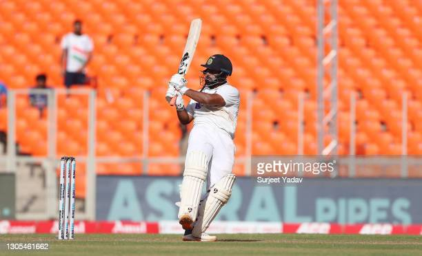 Rishabh Pant of India hits out during Day Two of the 4th Test Match between India and England at the Narendra Modi Stadium on March 05, 2021 in...