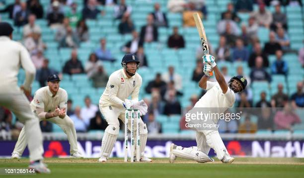 Rishabh Pant of India hits out for six runs during day five of the Specsavers 5th Test match between England and India at The Kia Oval on September...