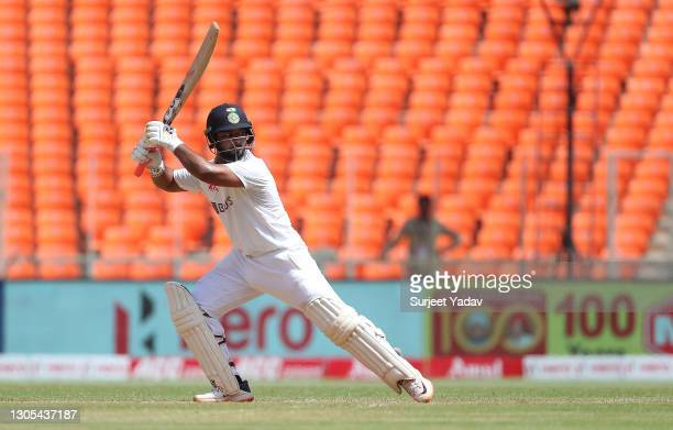 Rishabh Pant of India hits runs during Day Two of the 4th Test Match between India and England at the Narendra Modi Stadium on March 05, 2021 in...