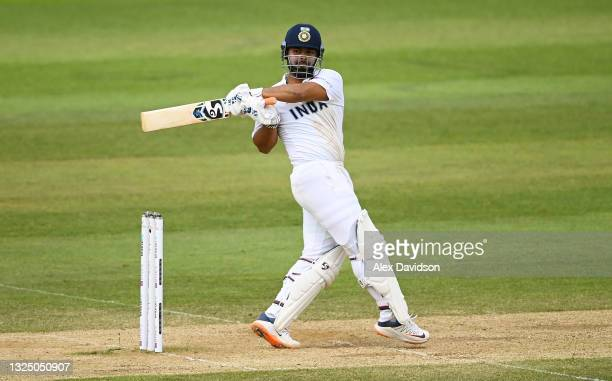 Rishabh Pant of India hits runs during the Reserve Day of the ICC World Test Championship Final between India and New Zealand at The Hampshire Bowl...