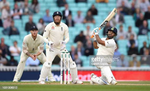 Rishabh Pant of India hits six runs to bring up his century during day five of the Specsavers 5th Test match between England and India at The Kia...