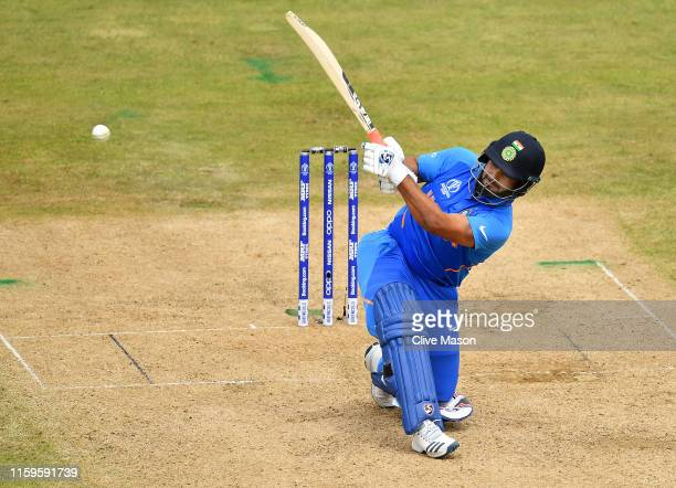 Rishabh Pant of India in action batting during the Group Stage match of the ICC Cricket World Cup 2019 between Bangladesh and India at Edgbaston on...