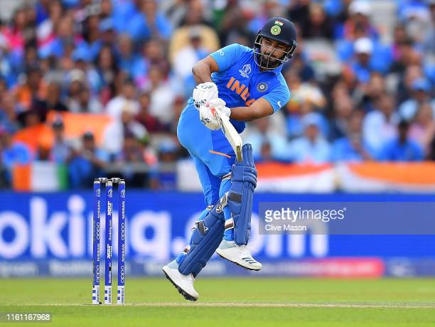 Rishabh Pant of India in action batting during the SemiFinal match of the ICC Cricket World Cup 2019 between India and New Zealand at Old Trafford on...