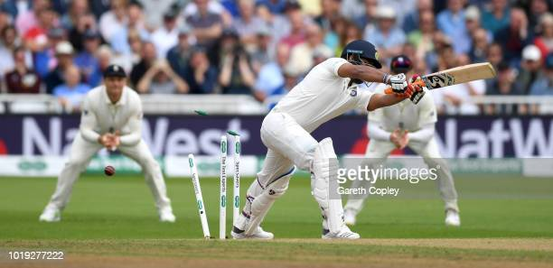 Rishabh Pant of India is bowled by Stuart Broad of England during day two of the Specsavers 3rd Test match between England and India at Trent Bridge...