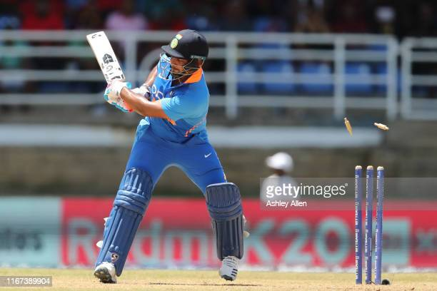 Rishabh Pant of India is bowled during the second MyTeam11 ODI between the West Indies and India at the Queen's Park Oval on August 11, 2019 in Port...