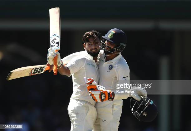 Rishabh Pant of India is congratulated by Ravindra Jadeja of India after reaching his century during day two of the Fourth Test match in the series...