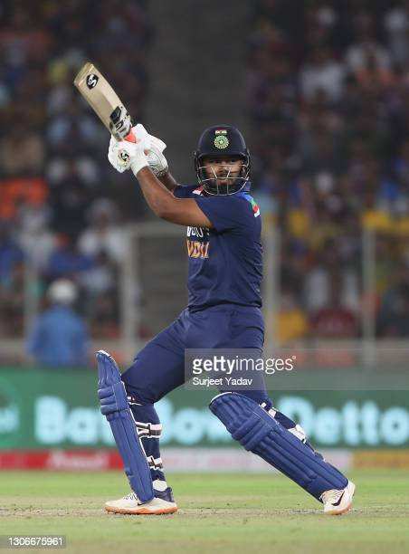 Rishabh Pant of India plays a cut shot during the 1st T20 International match between India and England at Sardar Patel Stadium on March 12, 2021 in...