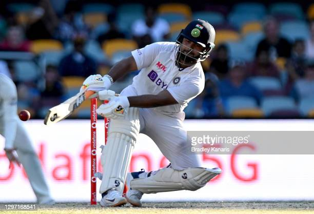Rishabh Pant of India plays a shot during day five of the 4th Test Match in the series between Australia and India at The Gabba on January 19, 2021...
