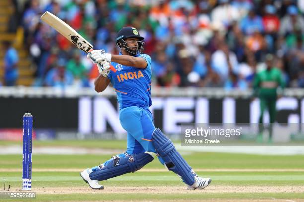 Rishabh Pant of India pulls a delivery to the legside boundary during the Group Stage match of the ICC Cricket World Cup 2019 between Bangladesh and...