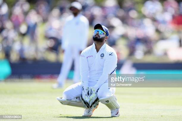 Rishabh Pant of India reacts during day two of the Second Test match between New Zealand and India at Hagley Oval on March 01, 2020 in Christchurch,...
