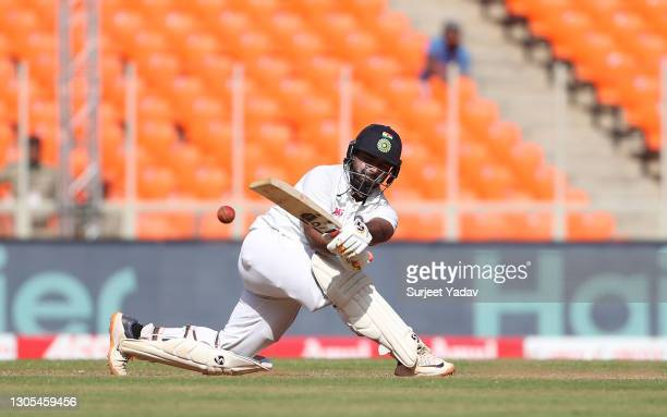 Rishabh Pant of India sweeps during Day Two of the 4th Test Match between India and England at the Narendra Modi Stadium on March 05, 2021 in...