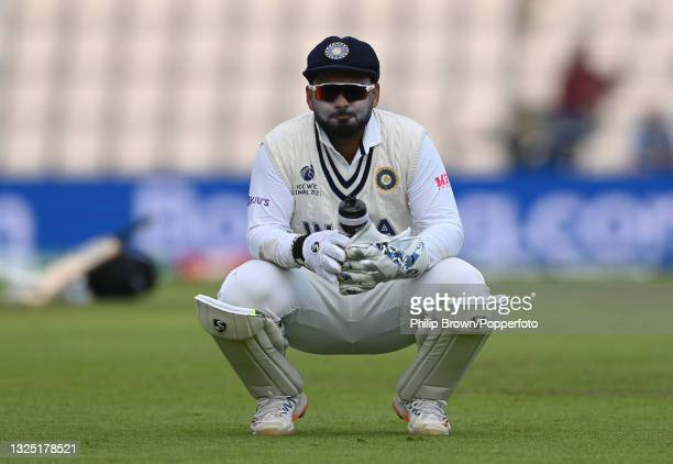 Rishabh Pant of India takes a break during the ICC World Test Championship Final between India and New Zealand at The Hampshire Bowl on June 23, 2021...