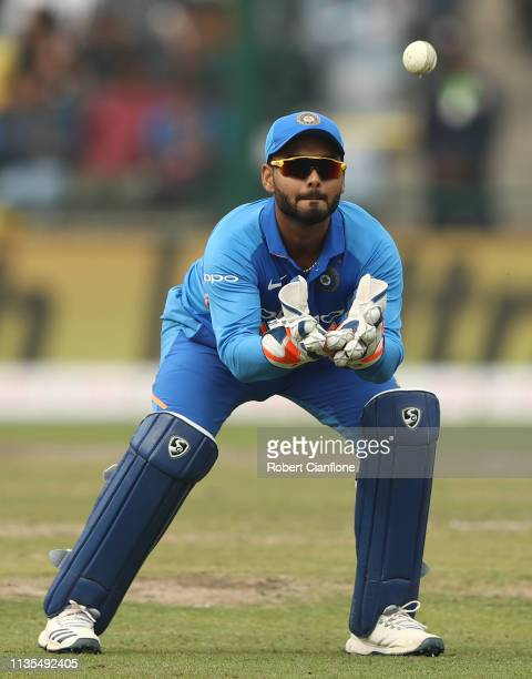 Rishabh Pant of India takes the ballduring game five of the One Day International series between India and Australia at Feroz Shah Kotla Ground on...