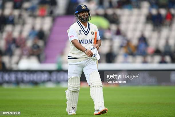 Rishabh Pant of India walks off after being dismissed during Day 3 of the ICC World Test Championship Final between India and New Zealand at The...