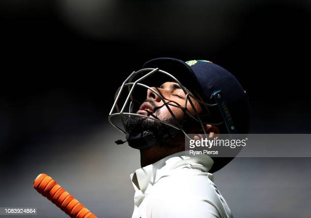 Rishabh Pant of India walks out to bat during day five of the second match in the Test series between Australia and India at Perth Stadium on...