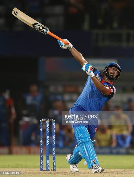 Rishabh Pant of the Delhi Capitals hits out during the Indian Premier League IPL Eliminator Final match between the Delhi Capitals and the Sunrisers...