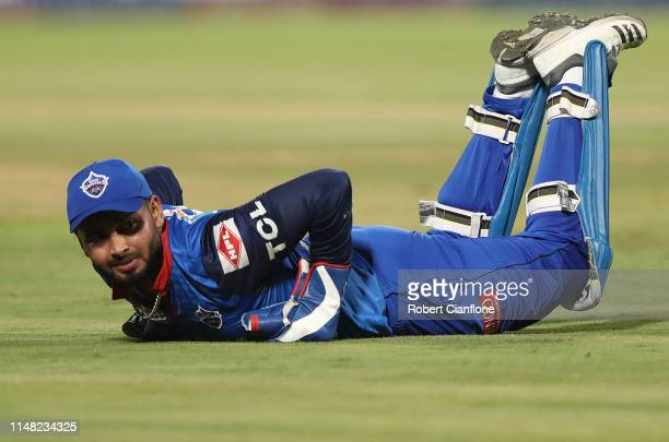 Rishabh Pant of the Delhi Capitals looks on as a ball heads to the boundary during the Indian Premier League IPL Qualifier Final match between the...