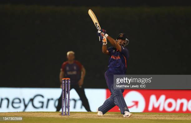 Rishbah Pant of India plays a shot during the India and England warm Up Match prior to the ICC Men's T20 World Cup at on October 18, 2021 in Dubai,...