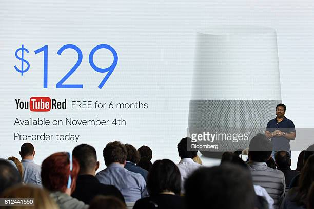 Rishi Chandra senior product manager of Google Inc discusses the pricing of the Google Home device during a Google product launch event in San...