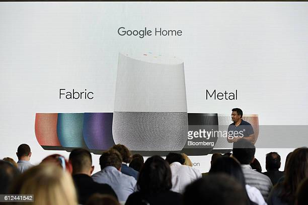 Rishi Chandra senior product manager of Google Inc discusses the Google Home device during a Google product launch event in San Francisco California...