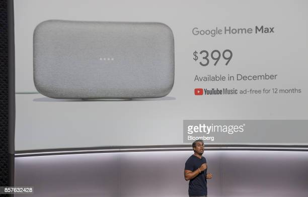 Rishi Chandra senior product manager of Google Inc speaks about the Google Home Max voice speaker during a product launch event in San Francisco...