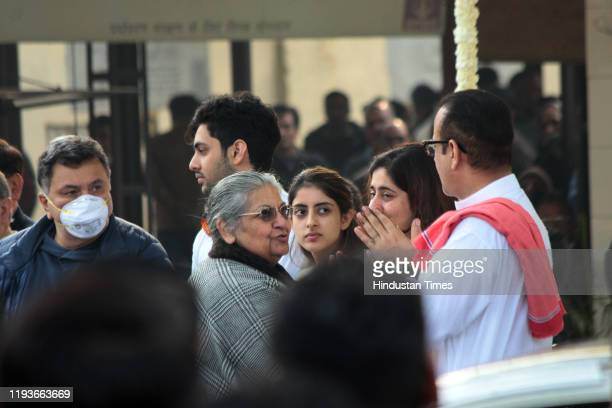 Rishi Kapoor and Navya Naveli Nanda at the funeral of Ritu Nanda at Lodhi Road Crematorium on January 14 2020 in New Delhi India Ritu Nanda late...