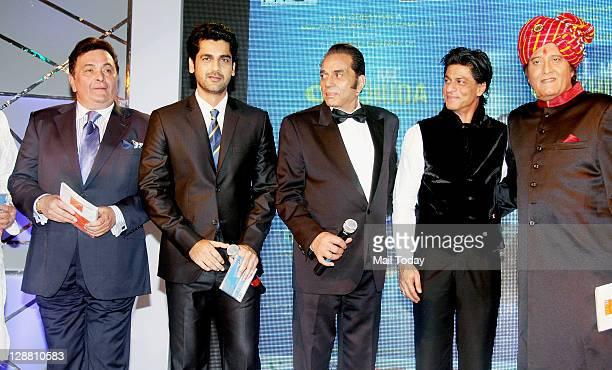 Rishi Kapoor Arjan Bajwa Dharmendra Shahrukh Khan and Vinod Khanna at the music launch of 'Tell Me O Khuda' movie at Inter Continental in Mumbai