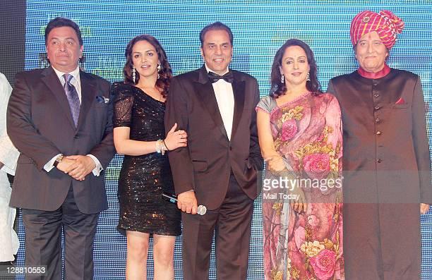 Rishi Kapoor Esha Deol Dharmendra Hema Malini and Vinod Khanna at the music launch of 'Tell Me O Khuda' movie at Inter Continental in Mumbai