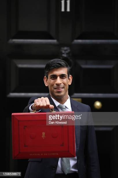 Rishi Sunak, Chancellor of the Exchequer departs to deliver the annual Budget at Downing Street on March 11, 2020 in London, England. The government...