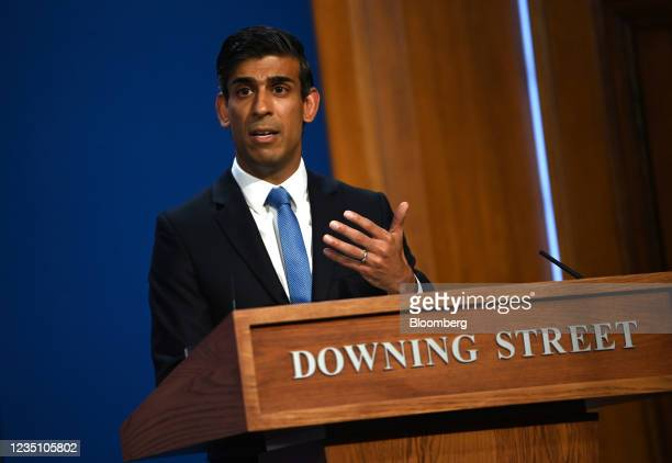 Rishi Sunak, U.K. Chancellor of the exchequer, during a news conference inside number 10 Downing Street in London, U.K., on Tuesday, Sept. 7, 2021....