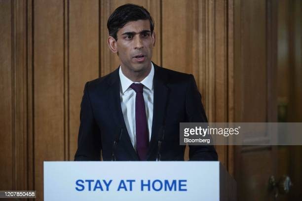Rishi Sunak UK chancellor of the exchequer speaks during a daily coronavirus briefing inside number 10 Downing Street in London UK on Friday March 20...