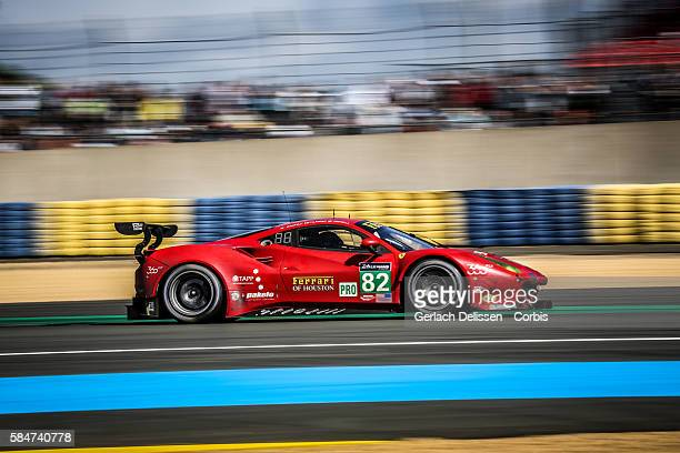 Risi Competizione #82 Ferrari 488 GTE with Drivers Giancarlo Fisichella Toni Vilander and Matteo Malucelli during the 84th running of the Le Mans 24...