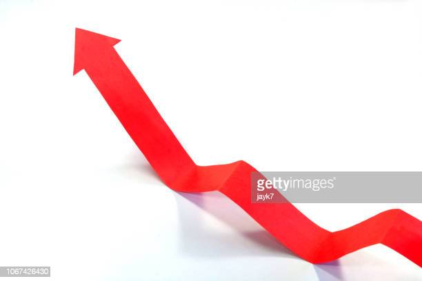 rising arrow chart - arrow stock photos and pictures