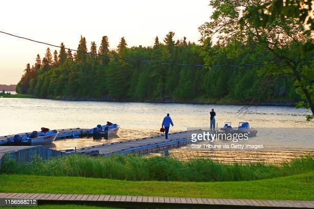 Rising before the sun muskie anglers like to be on the water early The dock at Big Narrows Resort on Lake of the Woods about 25 miles by water from...