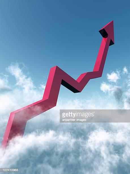 a rising chart going into the blue sky - élevé photos et images de collection