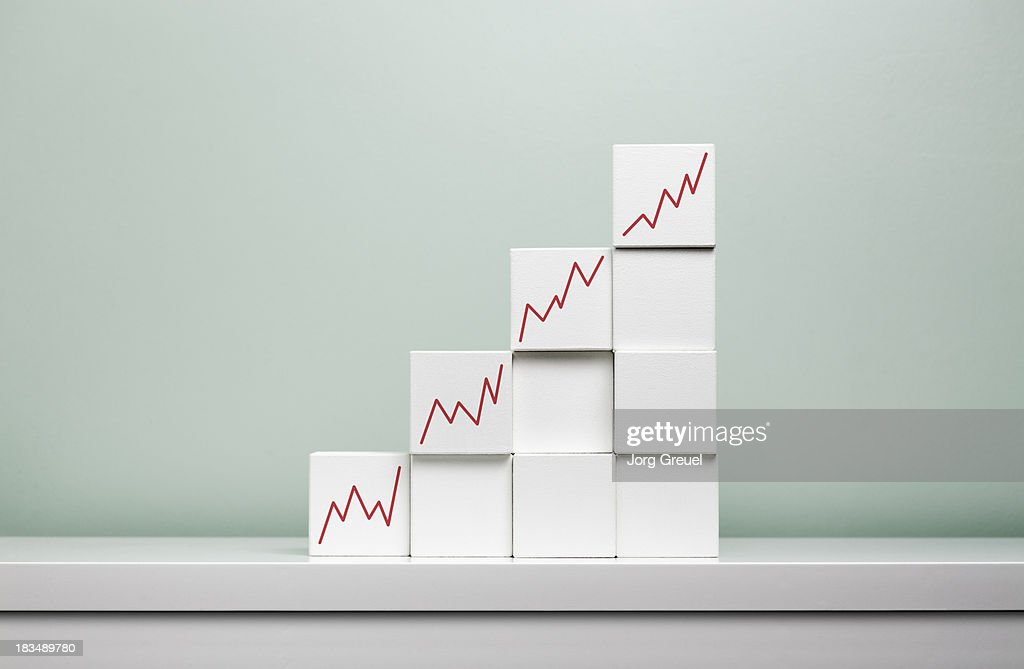 Rising graphs on cubes : Stock Photo
