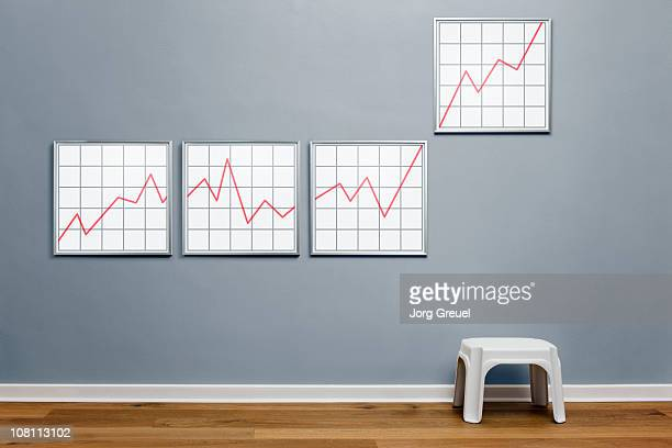 rising line graph in picture frames - wainscoting stock photos and pictures