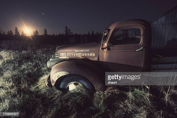 rising moon - old truck stock pictures, royalty-free photos & images