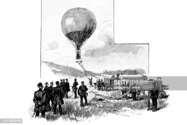 Rising of a captive balloon, France, German-French War 1871-1872 / Aufsteigen einer Fesselballon, Frankreich, Deutsch-Französischer Krieg 1871-1872,...