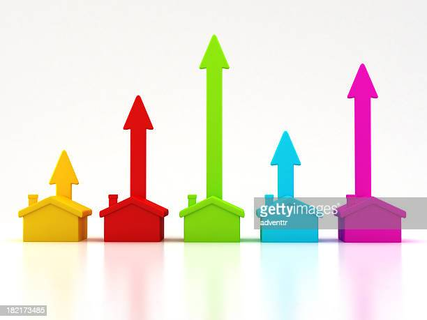 rising real estate trends - merger stock photos and pictures
