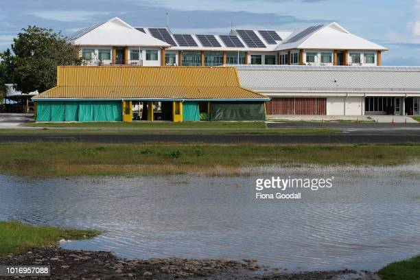 Rising sea levels cause flooding at high tide near the airport runway on August 15 2018 in Funafuti Tuvalu The small South Pacific island nation of...