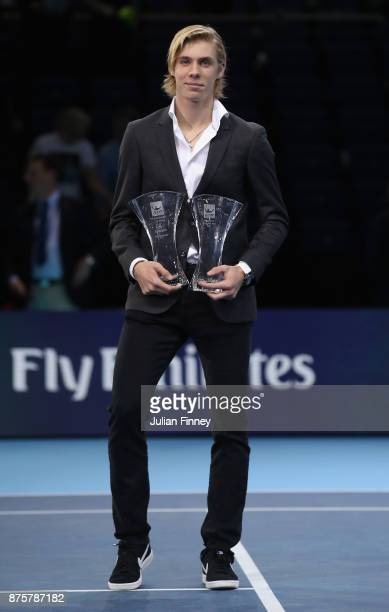 Rising star and the most Improved Player of the Year Award goes to Denis Shapovalov of Canada presented during day seven of the Nitto ATP World Tour...