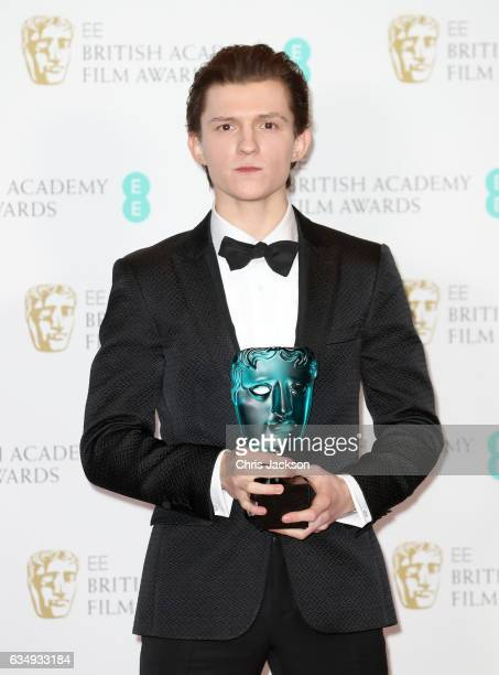 Rising Star Award winner actor Tom Holland poses in the winners room during the 70th EE British Academy Film Awards at Royal Albert Hall on February...