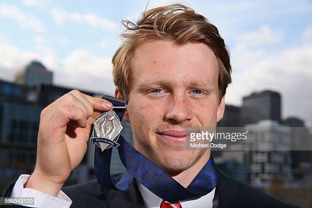 Rising Star winner Callum Mills of the Swans poses with the medal during the 2016 AFL Rising Star Announcement at Crown Palladium on September 6 2016...