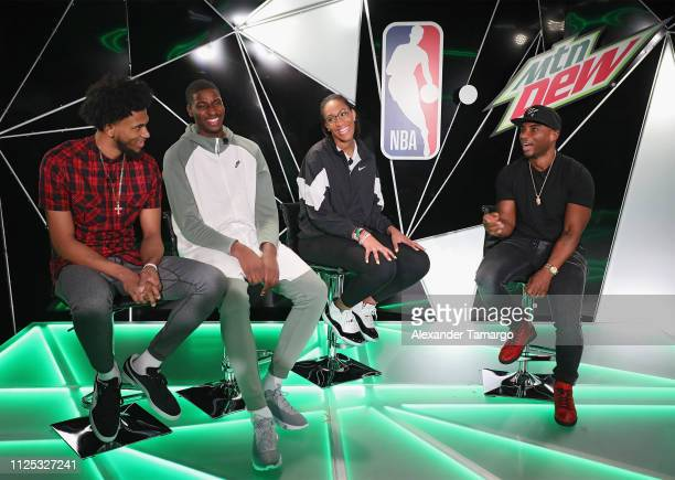 Rising Stars Marvin Bagley III and Jaren Jackson Jr WNBA Rookie of the Year A'ja Wilson and Charlamagne Tha God on stage at MTN DEW ICE Courtside...