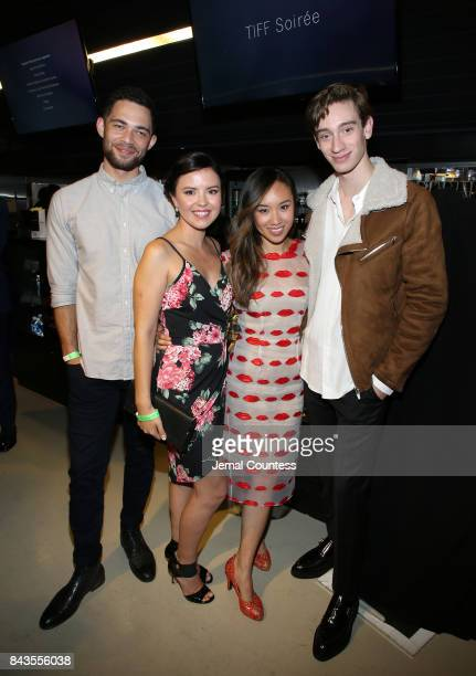 TIFF Rising Stars Vinnie Bennett Mary Galloway Ellen Wong and Theodore Pellerin pose for a photo at the TIFF Bell Lightbox on September 6 2017 in...