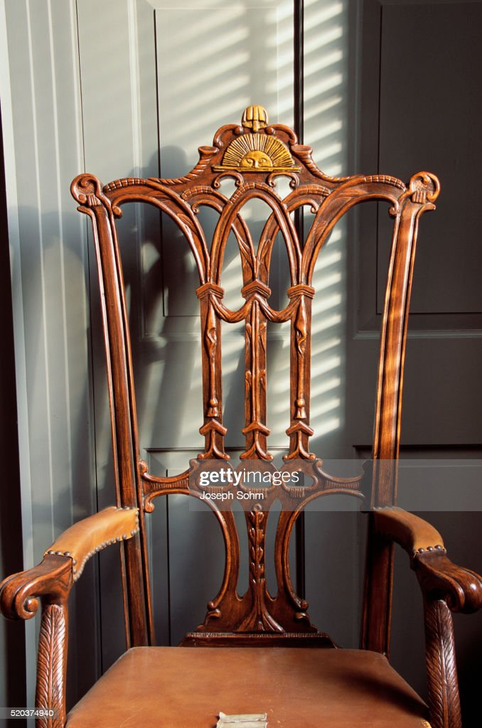 Rising Sun Chair In Independence Hall : Stock Photo